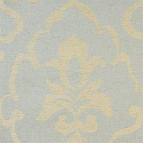 Como - Duck Egg - Blue linen fabric with faint classical outline in beige