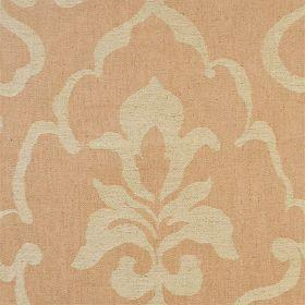 Como - Dune - Orange linen fabric with faint classical outline in beige