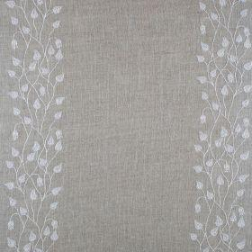 Linen Climbing Leaf - Ivory On Natural - Natural linen fabric with vertical striped floral pattern in ivory