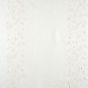Linen Climbing Leaf - Ivory On Ivory - Cream linen fabric with vertical striped floral pattern in ivory