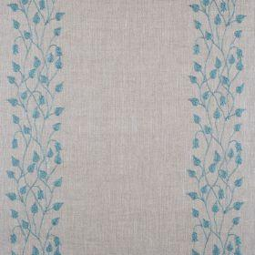Linen Climbing Leaf - Soft Jade On Natural - Natural linen fabric with vertical striped floral pattern in blue