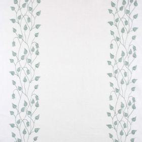 Linen Climbing Leaf - Pastaccio On Ivory - Ivory white linen fabric with climbing leaf print in blue