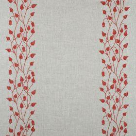 Linen Climbing Leaf - Red On Natural - Natural linen fabric with climbing leaf print in red