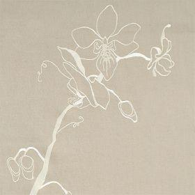 Lin Orchid - Taupe Ivory - Grey linen fabric with minimalist white floral design