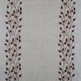 Linen Climbing Leaf - Chocolate On Natural - Natural linen fabric with climbing leaf stripe print in chocolate brown