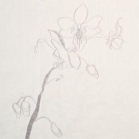 Lin Orchid - Ivory Taupe - Ivory linen fabric with minimalist grey floral design