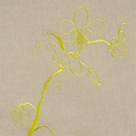 Lin Orchid - Taupe Lime - Taupe linen fabric with modern green flower design