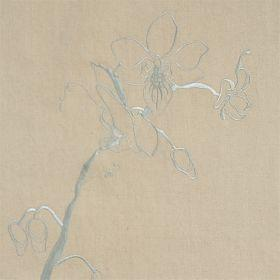 Lin Orchid - Taupe Azure - Taupe linen fabric with modern blue flower design