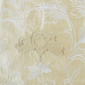 Mysore - Beige - Elegant pewter coloured stylised flowers with sweeping white leaves on a cream coloured 100% silk fabric background