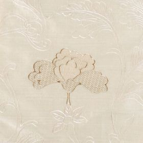 Mysore - Gold - Ivory coloured 100% silk fabric featuring a very subtle, elegant design of white leaves and light brown stylised flowers