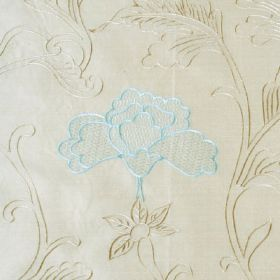 Mysore - Beige and Aqua - Light, elegant shades of blue and grey making up a leaf and stylised flower pattern on white fabric made from 100% s