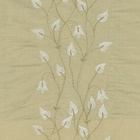 Climbing Leaf - Beige - Creamy grey 100% silk fabric patterned with elegant vines, flowers and teardrop shaped leaves in white and grey-beig