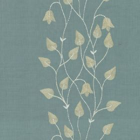 Climbing Leaf - Ivory Celadon - Light, dusky blue, pale grey and white coloured 100% silk fabric, with a row of vines, flowers and teardrop sh