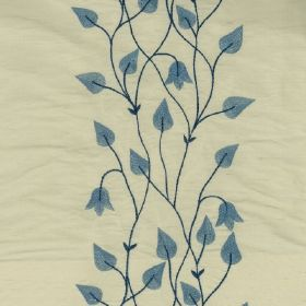 Climbing Leaf - Blue Ivory - 100% silk fabric made in very pale grey, with rows of teardrop shaped leaves and flowers in denim blue, with na