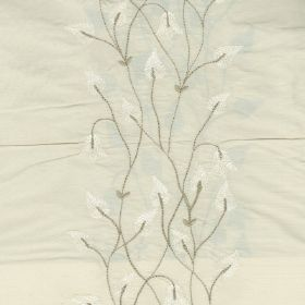 Climbing Leaf - White Ivory - Light, similar shades of white and grey making up a subtle, flower, vine and teardrop shaped leaf design on 100% s