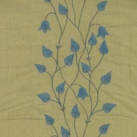 Climbing Leaf - Blue Cinnamon - Fabric made from denim blue and dark beige coloured 100% silk, with a row of flowers, vines and teardrop sha