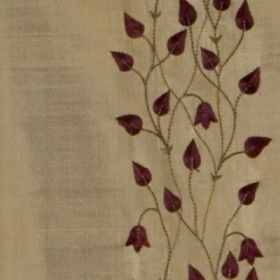 Climbing Leaf - Aubergine Gold - An elegant pattern of aubergine coloured teardrop shaped leaves, flowers and vines on light brown 100% silk