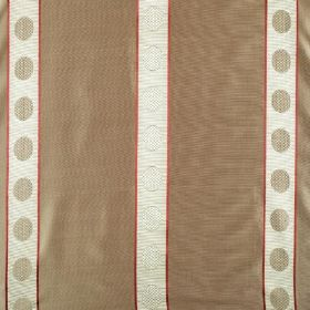 Castille - Sienna - Light grey and white circles running down white stripes with red edges on light brown fabric made from 100% silk
