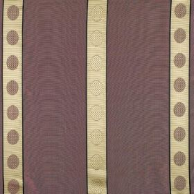 Castille - Boodles - Dusky purple 100% silk fabric made with light brown and cream coloured circles running down cream coloured stripes