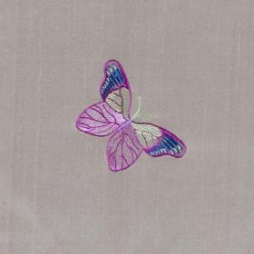 Butterflies - Taupe - Delicate bright purple, blue and white butterflies on a classic light grey coloured 100% silk fabric background