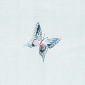 Butterflies - Duck Egg - Icy blue coloured 100% silk fabric featuring a stylish, elegant butterfly design in silver, turquoise and light pur