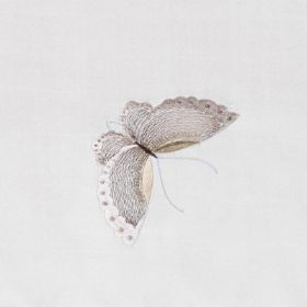 Butterflies - Ivory - Pretty butterflies in light grey and cream shades on fabric made from 100% silk in a very pale grey-white colour