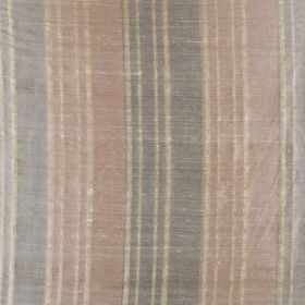 Bath Stripe - Terracotta - Muted brown, grey and beige tones making up a distressed vertical stripe design on fabric made from 100% silk