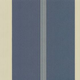 Taffeta Stripe Trio - Ocean Ivory - Fabric made from 100% silk, patterned with navy, off-white and pale blue-grey vertical stripes of differ