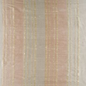 Bath Stripe - Spring Haze - A distressed effect finishing vertical stripes made in light shades of pink, blue and beige on 100% silk fabric