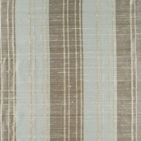 Bath Stripe - Aqua Buff - 100% silk fabric made in icy blue with two different shades of grey, featuring a distressed vertical stripe design