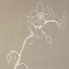 Orchid - Taupe Ivory - Light brown silk fabric with light modern floral outline in ivory
