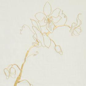 Orchid - Duck Egg Blue - Pale blue silk fabric with contemporary flower stem outline in gold