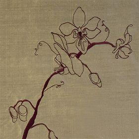 Orchid - Old Gold Aubergine - Brown silk fabric with modern flowering stem outline in dark purple