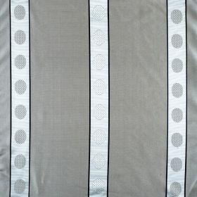 Castille - Mink - Grey silk fabric with pale silver stripes and spots