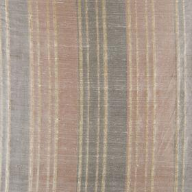 Bath Stripe - Terracotta - Silk fabric with faded blue and pink wide stripes and neutral narrow stripes