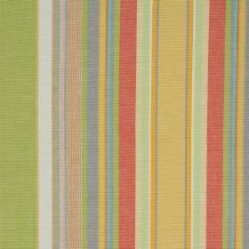 Ribolla - Oasis - Multicoloured 100% cotton fabric with vertical stripes in colours such as green, blue, light red, dark yellow and white