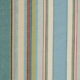 Ribolla - Sauge - Ivory, light red and various muted blue and green shades making up a vertical stripe design on 100% cotton fabric