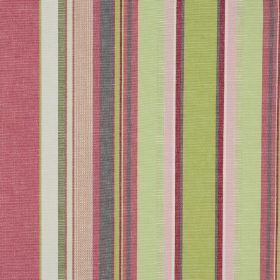 Ribolla - Azalee - Fabric made from 100% cotton, featuring a vertical stripe design in various light, fresh shades of green, pink and purple