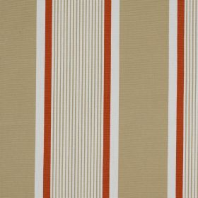 Marotta - Brique - Vertically striped 100% cotton fabric made with wide and narrow bands of beige, white and dark orange