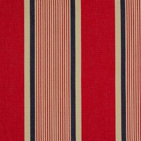 Marotta - Laque - Raspberry, beige and charcoal coloured vertical stripes of different widths running down 100% cotton fabric
