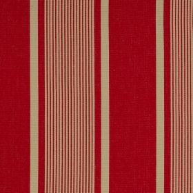 Marotta - Rimini II Marotta - Bright red and beige coloured 100% cotton fabric, patterned with striking vertical stripes of different widths