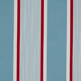 Marotta - Marotta Eden - 100% cotton fabric patterned with wide and narrow vertical stripes in white, fresh sky blue and bright, vibrant red