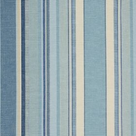 Ribolla - Horizon - White & various different light shades of blue making up a fresh vertical stripe design on fabric made from 100% cotton