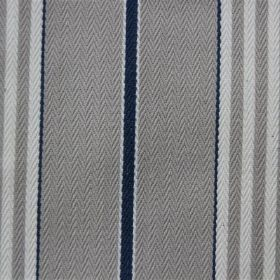 Rimini - Venice Blue - Grey, navy and off-white coloured striped cotton fabric