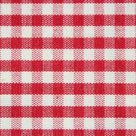 Rasuro - Falu Red - Checked cotton fabric featuring bright and pale red stripes on a crisp white background