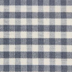 Rasuro - Cloud - Dark, dusky blue and cream checked cotton fabric, with the lines not being made of solid blue