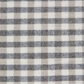 Rasuro - Charcoal Taupe - Cream coloured cotton fabric covered in even vertical grey stripes and black horizontal stripes