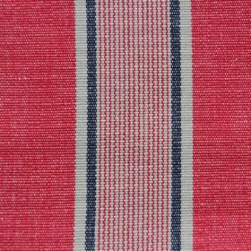 Rapino - Tuscan Red - Narrow and wide bands of red, striped with light grey and navy blue, printed on cotton fabric