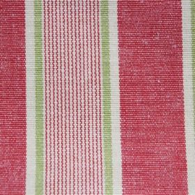Rapino - Tomato - Cotton fabric with white, pale green and light red stripes