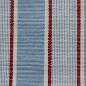 Rapino - Sky - Light blue cotton fabric striped with bands of white and deep red